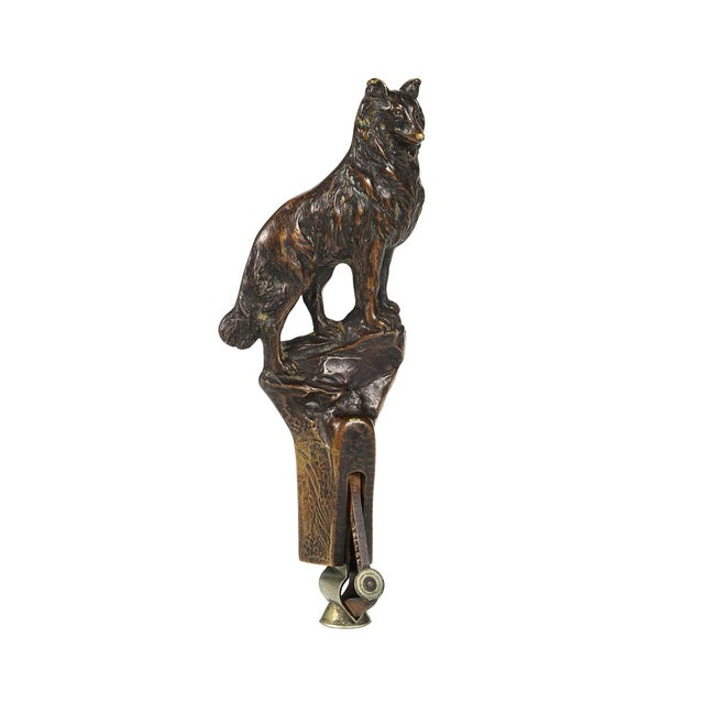 19th Century Bronze Wolf Figure Cigar Cutter - Image 2 of 10