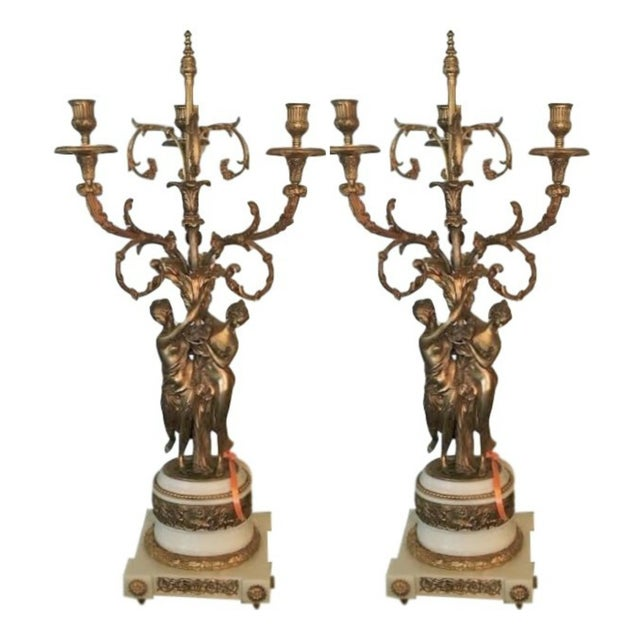Gilt Bronze Double Figure Candelabras - A Pair For Sale - Image 10 of 10