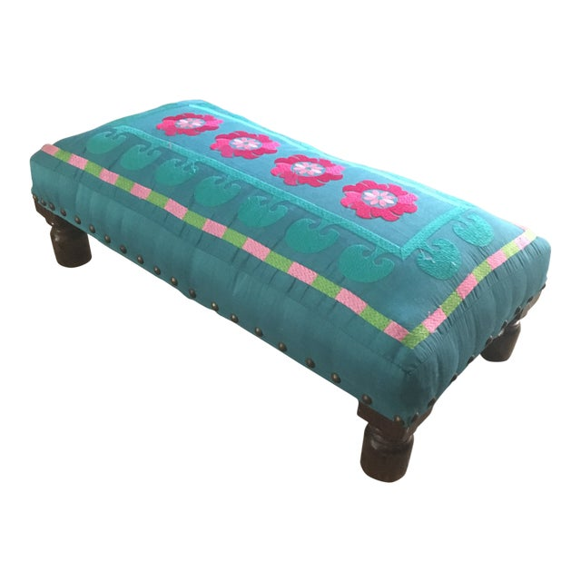 1980s Boho Chic Embroidered Turquoise Footstool For Sale