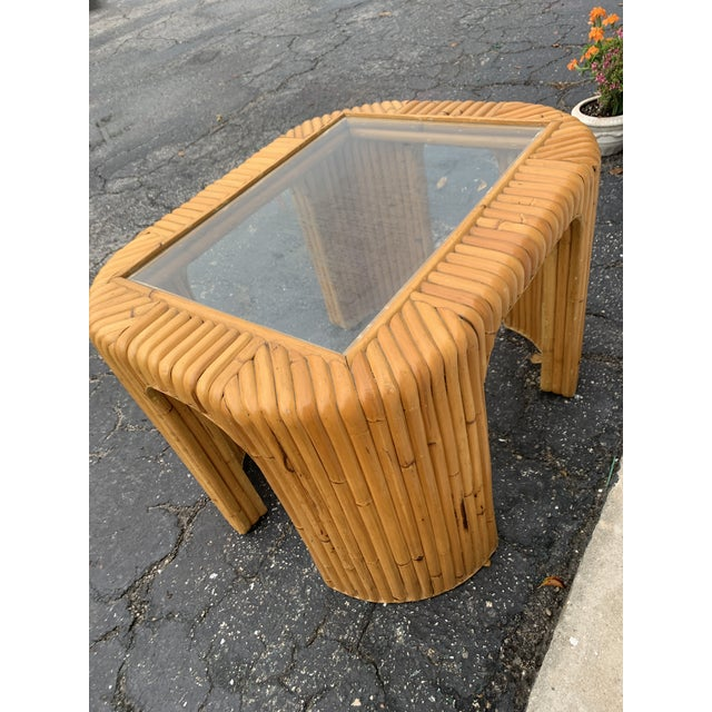 Boho Chic Boho Chic Bamboo Split Reed Coffee Table For Sale - Image 3 of 7