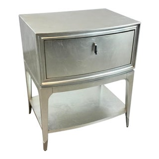 Caracole Modern Silver Leaf Finished Shining Star Nightstand For Sale