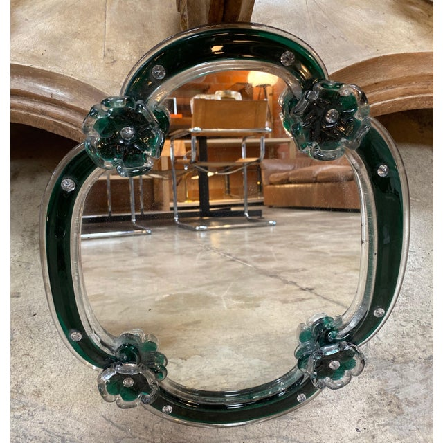 Mid-Century Modern 1950s Mid Century Modern Vintage Wall Mirror With Flowers For Sale - Image 3 of 7