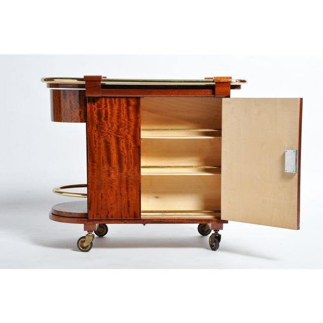 Hungarian Mid-Century Modern Mahogany Bar Cart For Sale - Image 9 of 13