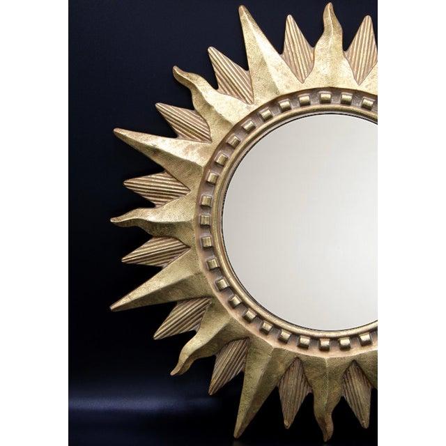 Vintage Golden Gilt Convex Sunburst Mirror For Sale - Image 4 of 11
