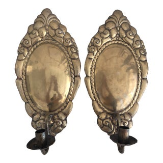 Antique Hammered Brass Swedish Scrolled Candle Sconces - a Pair For Sale