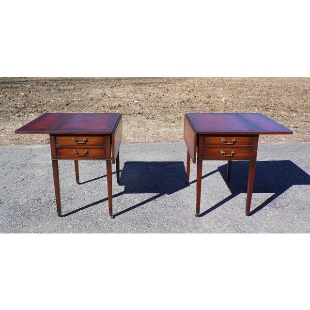 Traditional Pair Federal Leather Top Mahogany Drop Leaf End Tables Nightstands For Sale - Image 10 of 13
