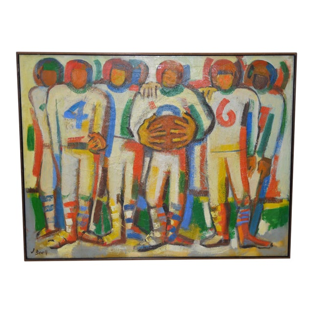 "Monumental Mid Modern ""Football"" Painting by J. Beall c.1960 For Sale"