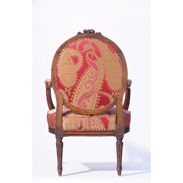 French 19th C. French Walnut Armchair For Sale - Image 3 of 6