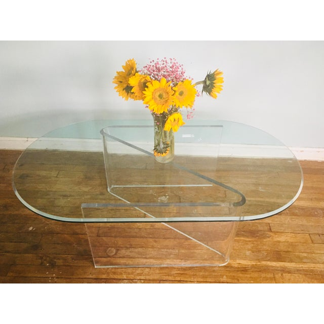 Lucite/Acrylic Base Coffee Table With Beveled Edge Glass Top For Sale - Image 4 of 5