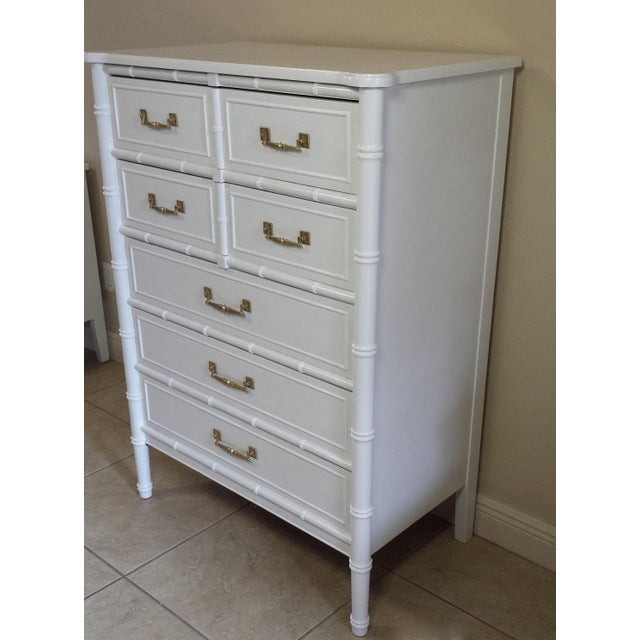 Henry Link Henry Link Hollywood Regency Faux Bamboo Chest For Sale - Image 4 of 7