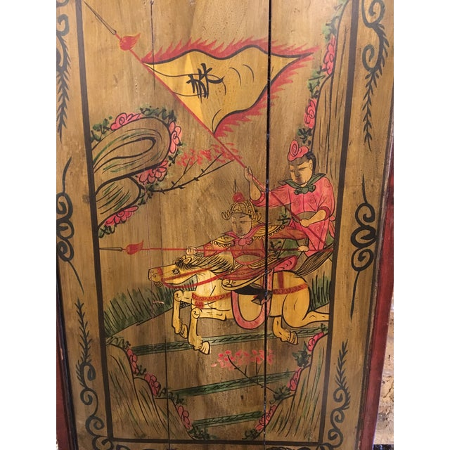 Asian Chinese Painted Wood Panel For Sale - Image 3 of 5