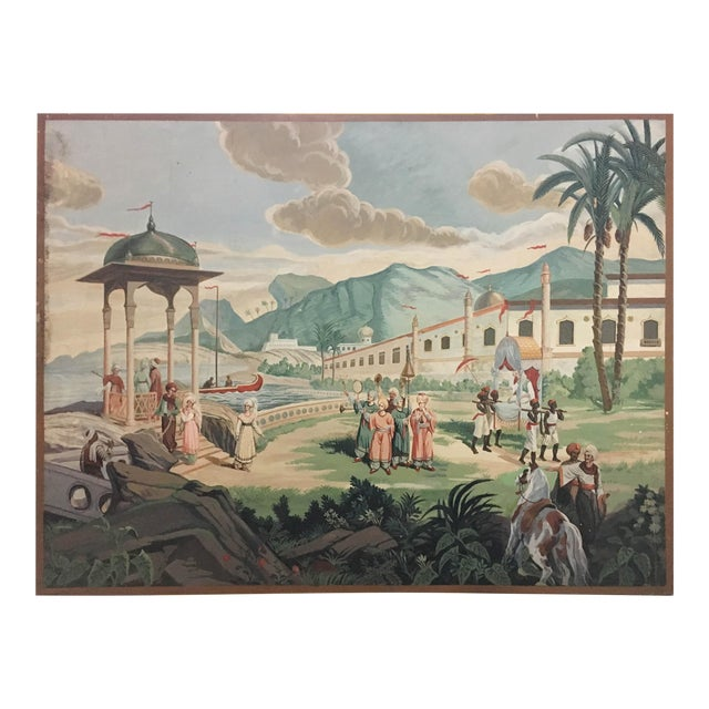 Vintage Turkish Scenic Hand Painted on Canvas For Sale