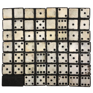 1920s Vintage Ebony and Painted Tin Old Double Sixes Dominoes Set, Complete For Sale