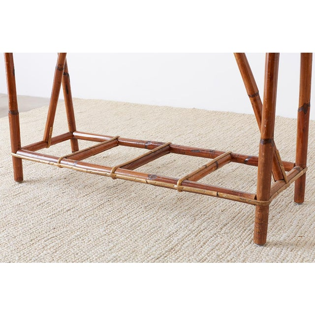 French Maison Gatti Bamboo Rattan Jardinière Planter For Sale - Image 11 of 13