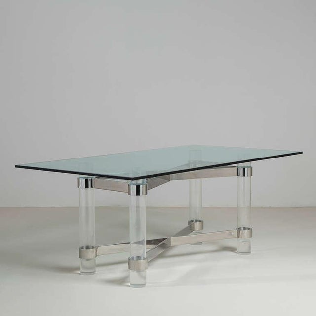 A Superb Lucite and Chromium Steel Based Dining Table with Glass Top 1970s .