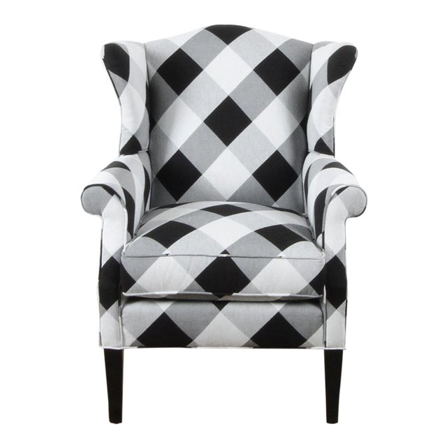 Black and White Check Bradford Armchair For Sale