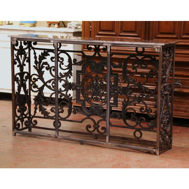 18th Century French Louis XV Polished Iron Console Table With Grey Marble Top For Sale - Image 12 of 13
