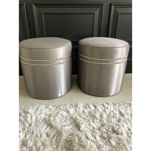Modern Baker Furniture Jacques Garcia Ottomans- A Pair For Sale - Image 9 of 9
