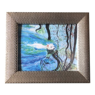 Contemporary Swimming Westie Dog Print by Judy Henn Framed For Sale