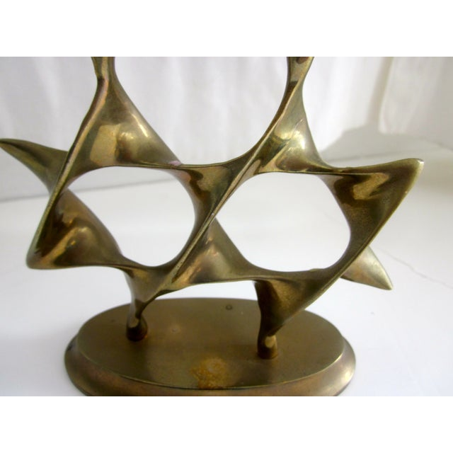 Modernist Abstract Brass Menorah Candle Holder - Image 6 of 6