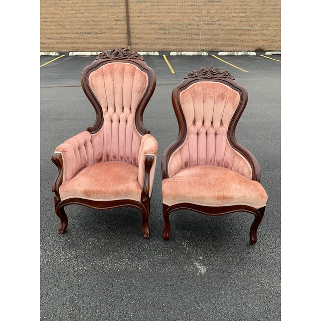 1950s Victorian Magnolia Hall Tufted Upholstered Side Chairs - a Pair For Sale - Image 12 of 12