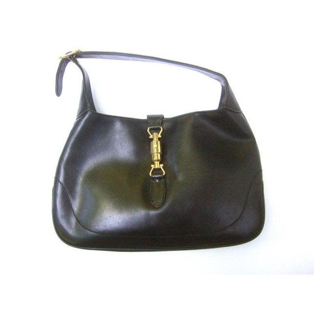 "Gucci Iconic Ebony Leather Jackie ""O"" Versatile Handbag / Shoulder Bag C 1970s For Sale - Image 11 of 11"