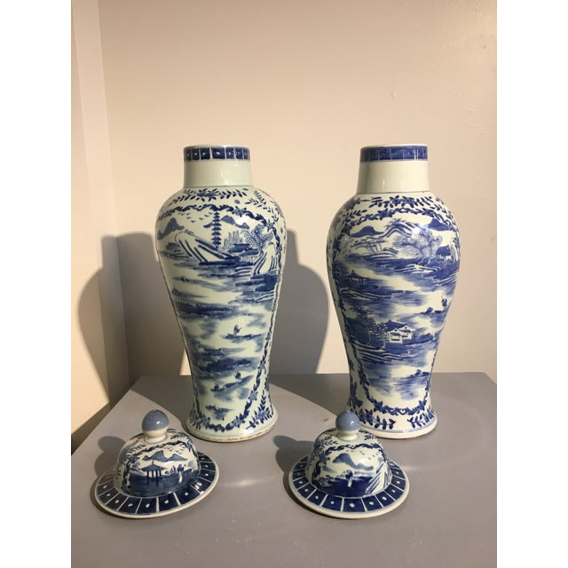Chinese Tall Blue and White Baluster Covered Porcelain Vases, circa 1900- A Pair For Sale In Austin - Image 6 of 8