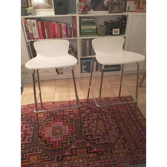 Crate & Barrel White & Chrome Bar Stools - A Pair - Image 2 of 7