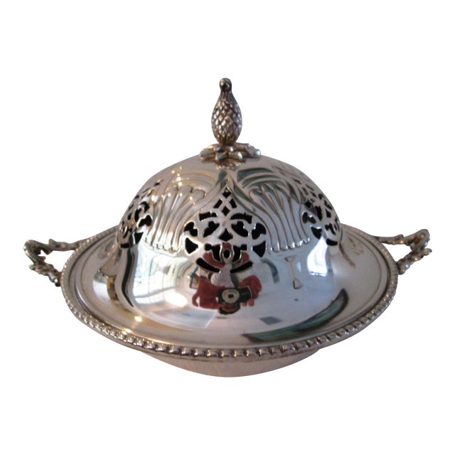English Silver Lidded Bowl With Glass Insert - Image 1 of 11