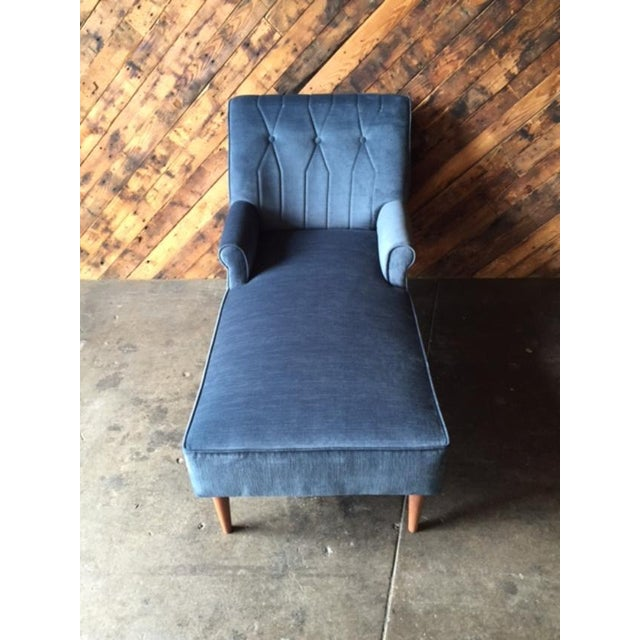 Mid Century Reupholstered Tufted Extended Lounge Chair - Image 4 of 7