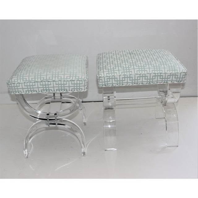 Hollis Jones Style Lucite U Benches Stools 1940s - Newly Upholstered - a Pair For Sale In West Palm - Image 6 of 12