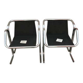 Italian Mid Century Modern Chrome Chairs - a Pair For Sale