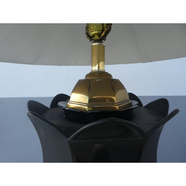 1970s 70's Brass and Black Ceramic Decorator Accent Lamp For Sale - Image 5 of 13