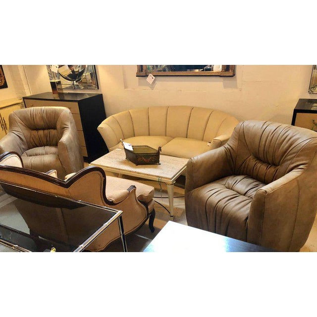 Pair of Hollywood Regency Style Leather Tufted Arm / Club Chairs in Putty Color For Sale - Image 9 of 10