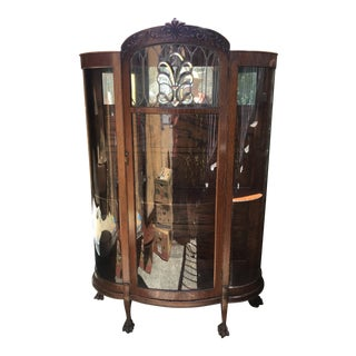 Antique Quarter Sawed Oak Curved Glass China Closet With Beveled Glass Leaded Door For Sale