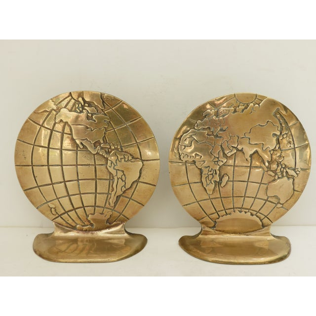 Solid Brass Globe Bookends - A Pair - Image 2 of 6