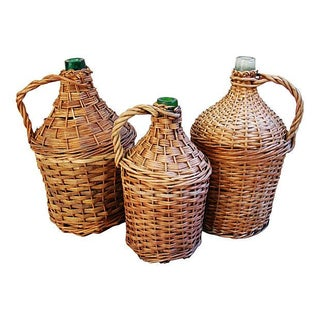 French Wicker Demijohn Bottles - Set of 3 For Sale