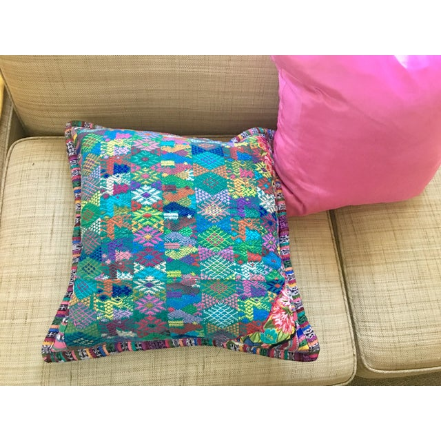 Textile Original Guatemalan Textile Cushion Case in Teal For Sale - Image 7 of 10