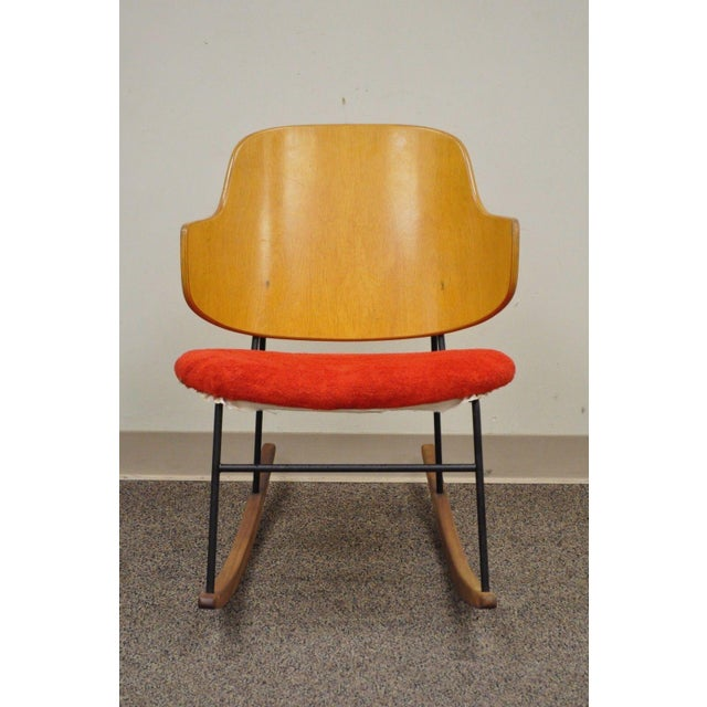 Vintage Mid Century Danish Modern Lb Kofod Larsen Penguin Rocking Chair Rocker - Image 3 of 11
