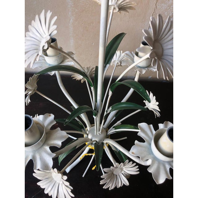 Vintage Tole Chandelier With Daisies For Sale - Image 9 of 10