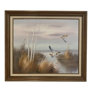 Vintage Ducks in Flight Over Water Lithograph Oil Painting on Canvas For Sale
