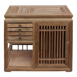 Chinese Raw Wood Open Display Storage Small Cabinet For Sale