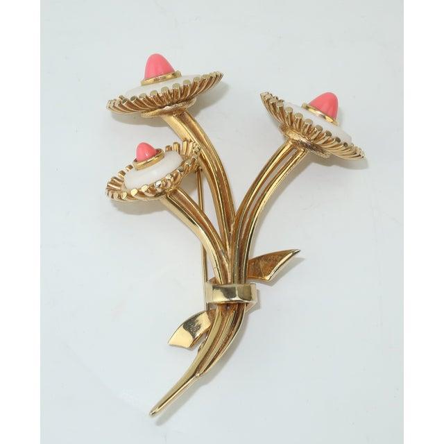 Boucher 1950s Vintage Marcel Boucher Gold Tone Coral Flower Brooch For Sale - Image 4 of 12