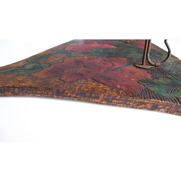 Pink Art Nouveau Hand-Carved and Painted Wood Coat Rack For Sale - Image 8 of 8