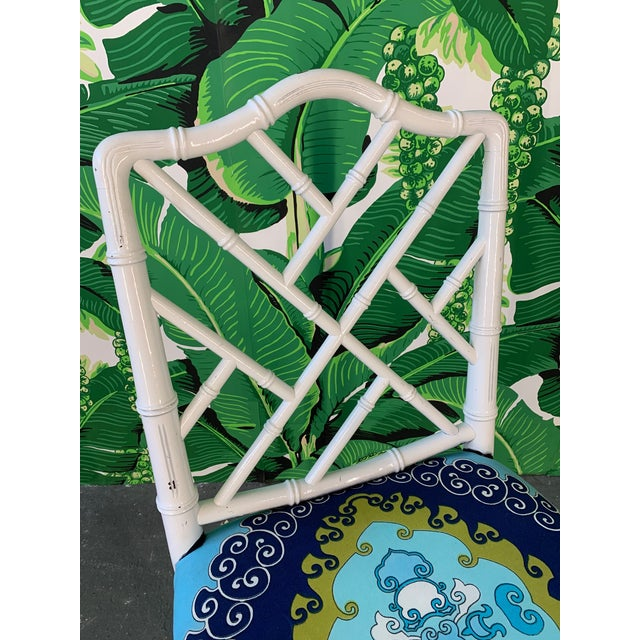 Faux Bamboo Chinoiserie Style Dining Chairs - Set of 4 For Sale - Image 9 of 10