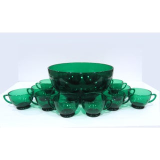 Vintage Anchor Hocking Forest Green Glass Punch Set With Bowl and 14 Cups - 15 Pieces Preview