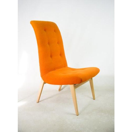 Norman Bel Geddes Mid-Century Modern Orange Side Chair - Image 2 of 9