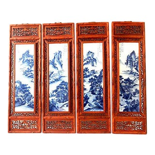Chinoiserie B & W Porcelain /Wood Panels, 4 For Sale