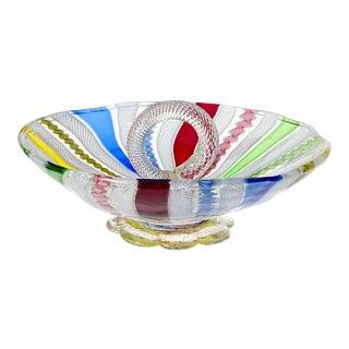 Murano Vintage Rainbow Ribbons Gold Flecks Italian Art Glass Mid Century Serving Bowl Dish For Sale