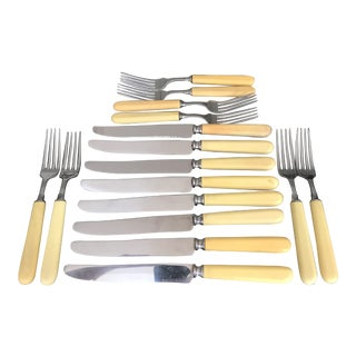 "Vintage ""Universal Stainless Steel"" Fsux Bone Flatware - Set of 16 For Sale"